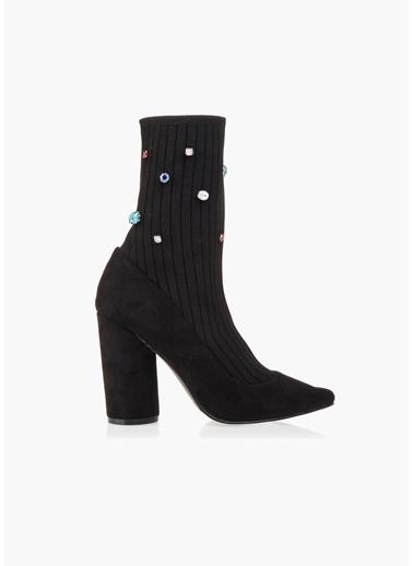 Twist Taş Baskılı Çorap Form Bot Siyah